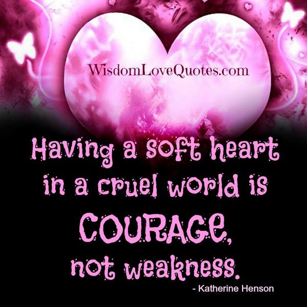 Having a soft heart in a cruel world – Wisdom Love Quotes