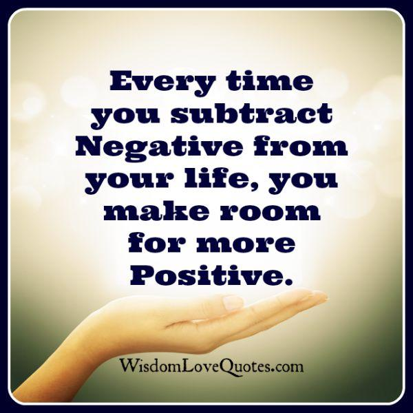 Every time you substract negative from your life