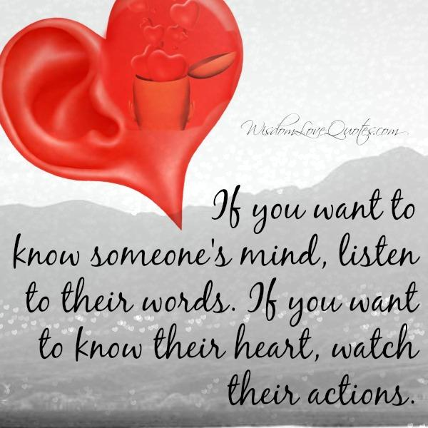 If you want to know someone's mind