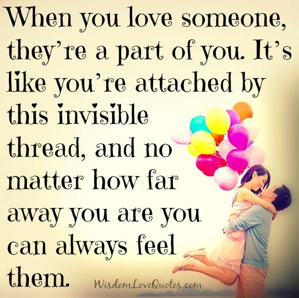 When you love someone, theyre a part of you - Wisdom Love